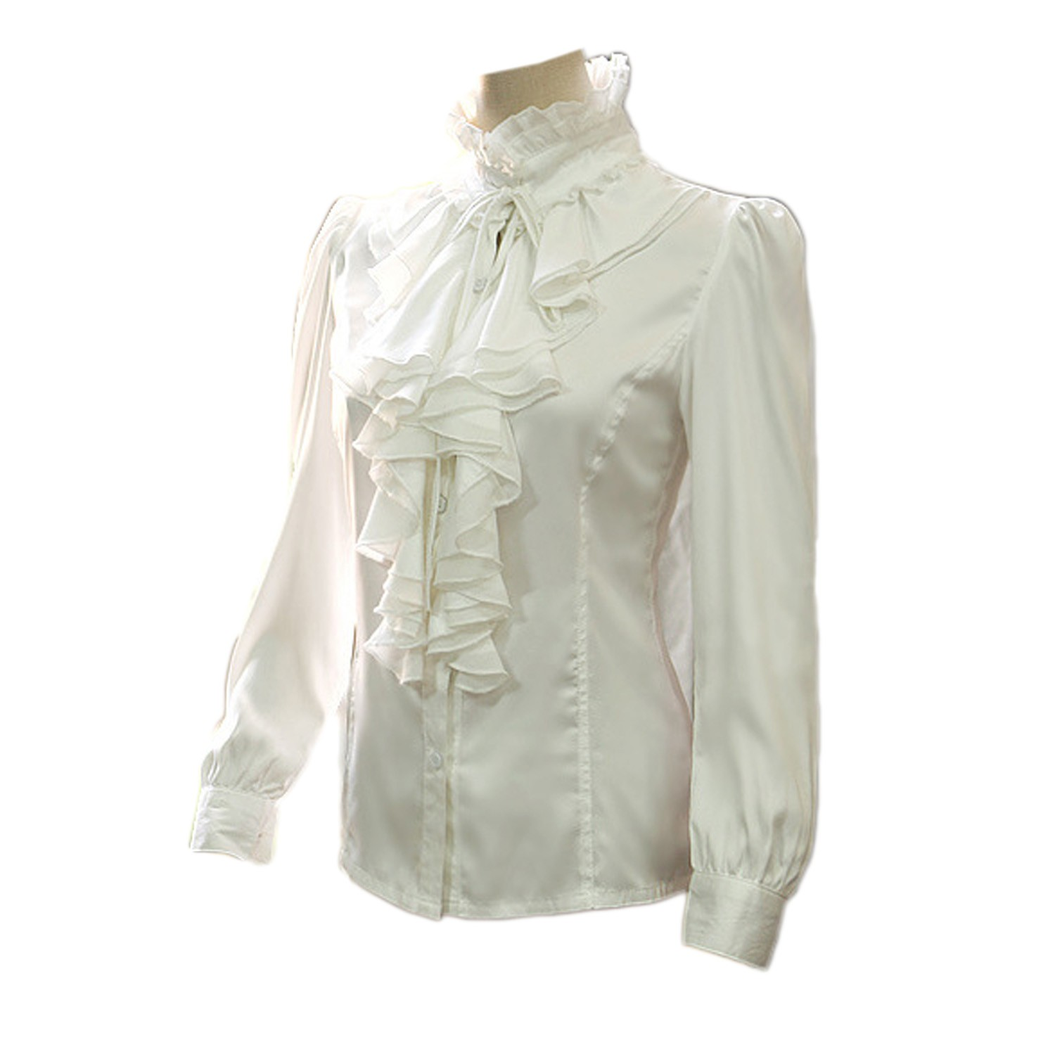 Womens White Frilly Blouse 19