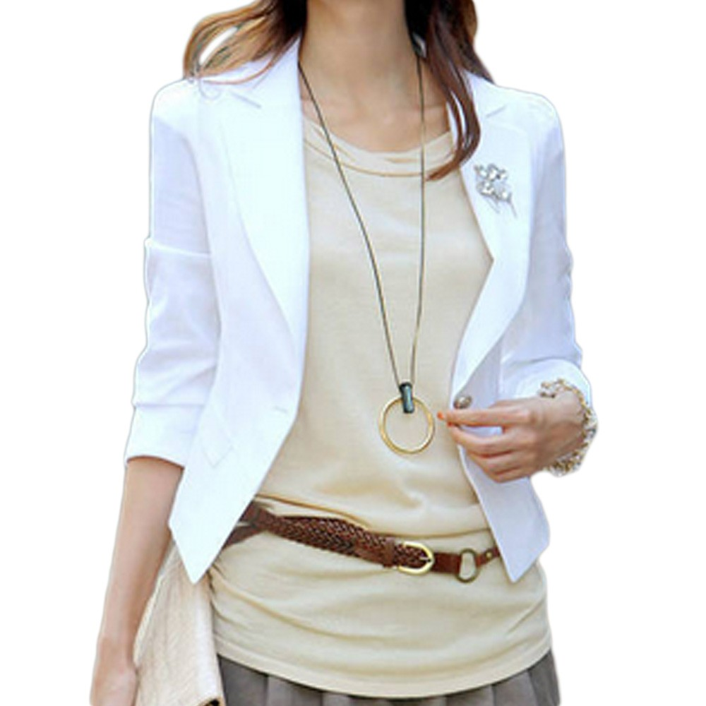 ... Fitted Ladies Office Womens Button Boyfriend 3/4 Sleeve White Blazer