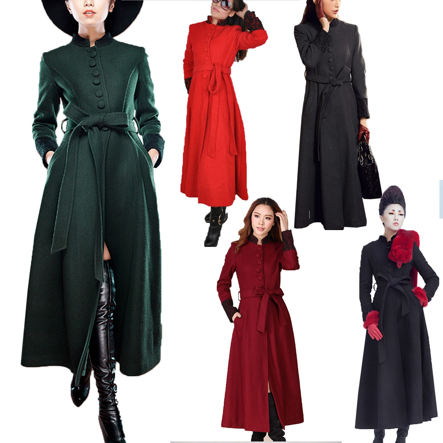Vintage Long Ladies Full Military Jacket Floor Length Coat Womens ...